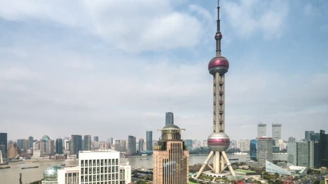 t/l ws ha zo elevated view of lujiazui financial center featuring oriental pearl tower / shanghai, china - river huangpu stock videos & royalty-free footage