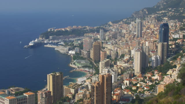 elevated view of monaco and the mediterranean. - monte carlo stock-videos und b-roll-filmmaterial