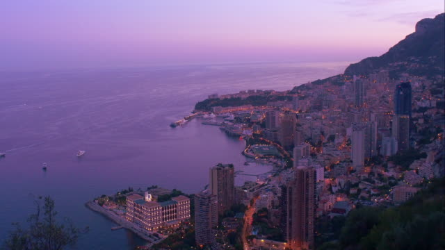 Elevated view of Monaco. Evening. Pan and Zoom-in. 4K.