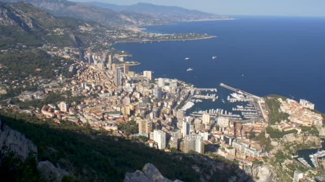 elevated view of monaco on the french riviera. - monaco stock videos and b-roll footage