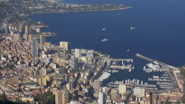 elevated view of monaco on the french riviera. - monte carlo stock videos & royalty-free footage