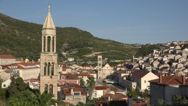 Elevated view of old town and church Sveti Marko