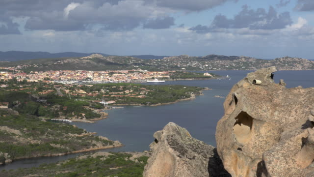 elevated view of palau from capo d'orso - sassari stock videos & royalty-free footage