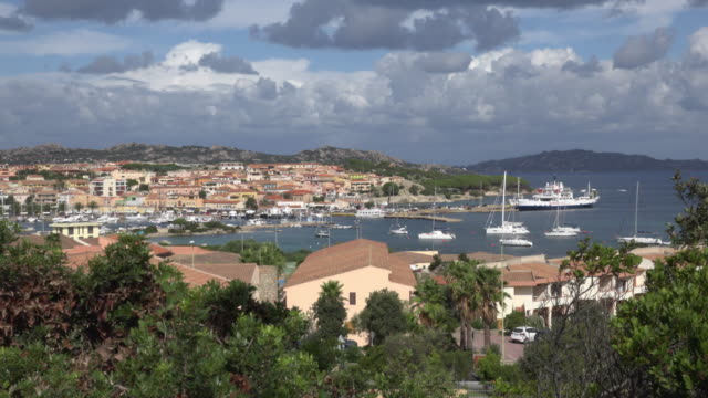 elevated view of palau harbor and village - sassari stock videos & royalty-free footage