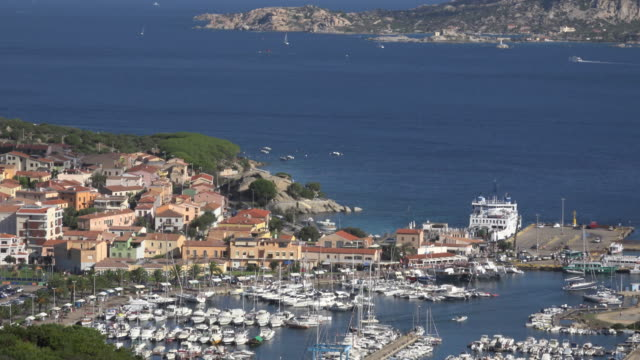 zo / elevated view of palau harbor and village - sassari stock videos & royalty-free footage
