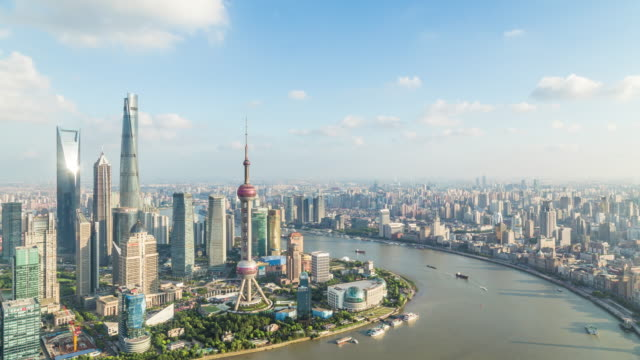 T/L WS HA Elevated view of Shanghai Cityscape