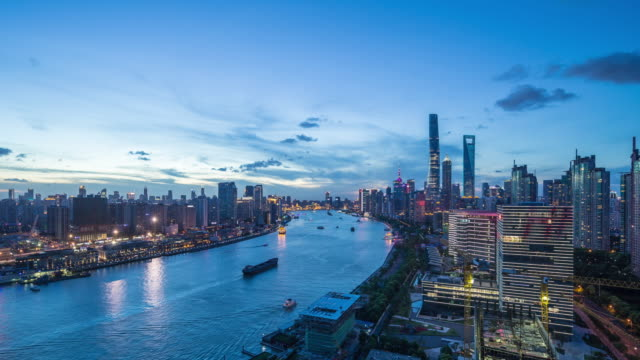 t/l ws ha elevated view of shanghai cityscape - river huangpu stock videos & royalty-free footage