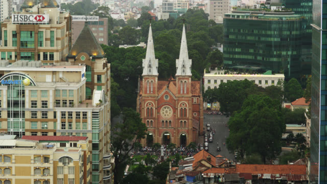 elevated view of the cbd with saigon notre-dame cathedral - ho chi minh city stock videos & royalty-free footage