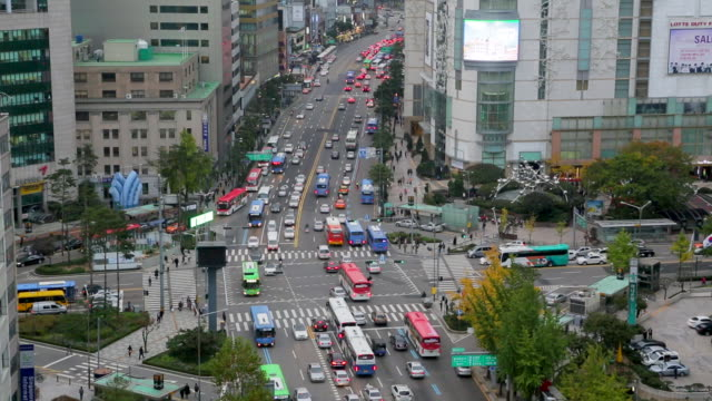 elevated view of the central financial district,myeong-dong, seoul, korea, asia - 韓国点の映像素材/bロール