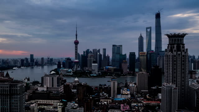 t/l ws ha zo elevated view of the city night to day transition / shanghai, china - jin mao tower stock videos & royalty-free footage