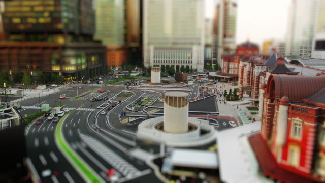 Elevated View of the newly Renovated Tokyo Marunouchi Station in Tilt Shift Miniature Looks