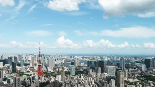 t/l ws ha td elevated view of tokyo city skyline featuring with landmark tokyo tower - tilt down stock videos & royalty-free footage