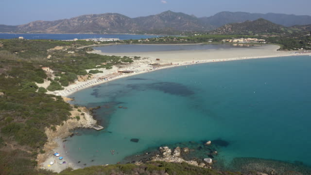 elevated view of villasimius beach - spiaggia stock videos & royalty-free footage