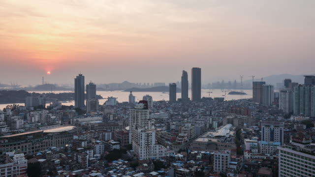 T/L ZO Elevated View of Xiamen Sunset, China
