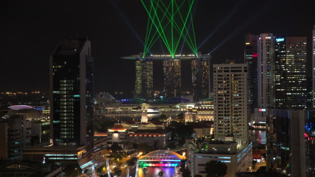 elevated view over the city skyline and riverside restaurants at the entertainment district of clarke quay, singapore, south east asia - distant stock videos & royalty-free footage
