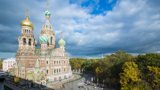 elevated view over the domes of the church of the saviour on spilled blood, saint petersburg, russia - timelapse - st. petersburg russia stock videos & royalty-free footage