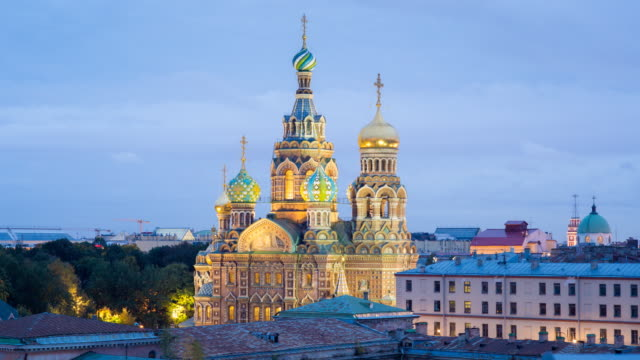 Elevated view over the Domes of the Church of the Saviour on Spilled Blood, Saint Petersburg, Russia