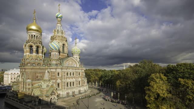 Elevated view over the Domes of the Church of the Saviour on Spilled Blood, Saint Petersburg, Russia - Time lapse