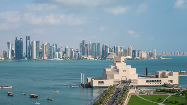 Elevated view over the Museum of Islamic Art and the Dhow harbour to the modern skyscraper skyline, Doha, Qatar, Middle East