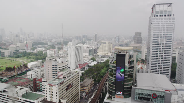elevated view towards siam station - shopping centre stock videos & royalty-free footage