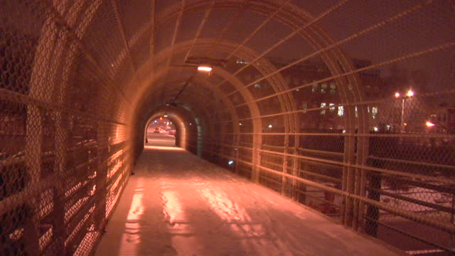 MS, Elevated walkway covered with snow at night, Park Slope, Brooklyn, New York City, New York, USA