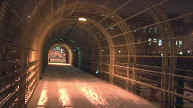ms, ds, elevated walkway covered with snow at night, park slope, brooklyn, new york city, new york, usa - elevated walkway stock videos & royalty-free footage