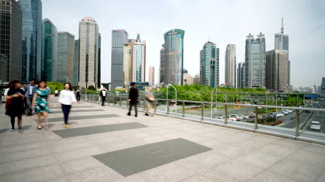 elevated walkway in midtown of modern city - elevated walkway stock videos & royalty-free footage