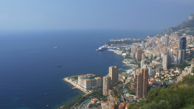elevated wide view of monaco and the mediterranean. - monaco stock videos and b-roll footage