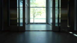 Elevator doors (with a view) - open and close.