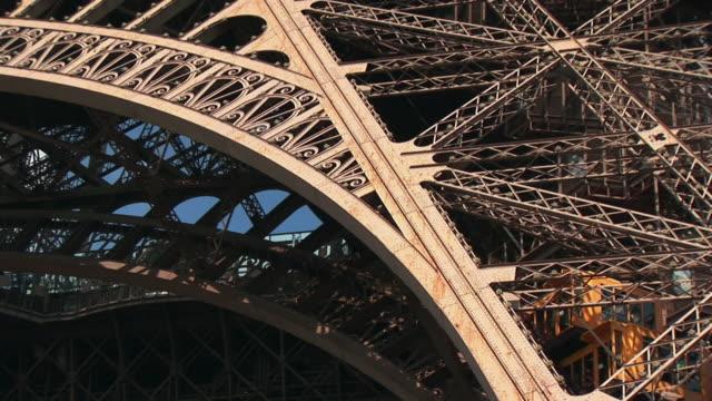CU, LA, Elevator of Eiffel Tower moving up, Paris, France