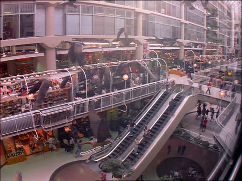 elevator point of view of people, escalator + stores in eaton's galleria mall / toronto - elevator point of view stock videos and b-roll footage