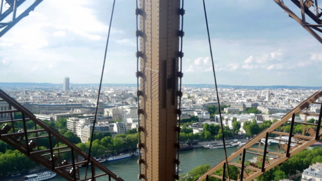 elevator ride to the eiffel tower, paris - eiffel tower stock videos & royalty-free footage