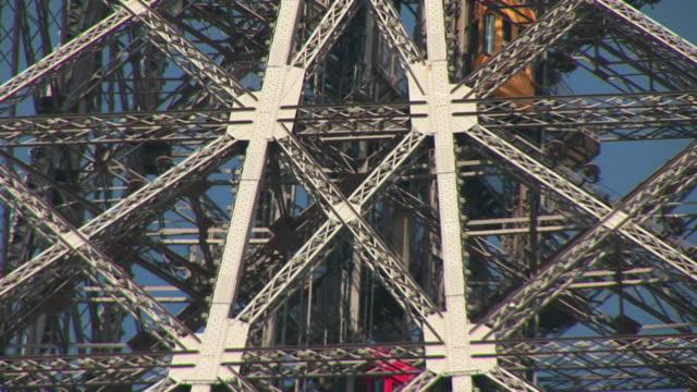 CU, Elevators of Eiffel Tower moving up, Paris, France
