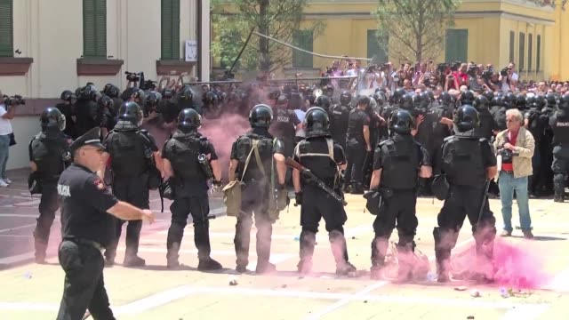 eleven police officers and a journalist are injured during an albanian opposition demonstration demanding the resignation of the interior minister... - trafficking stock videos & royalty-free footage