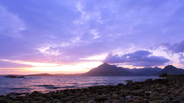elgol isle of skye, scotland beach sun set timelapse - skye stock videos and b-roll footage