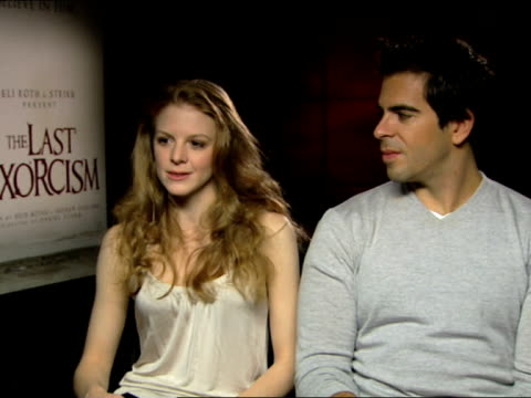 eli roth and ashley bell on researching exorcisms, possessions at the the last exorcism - press junket at london england. - exorcism stock videos & royalty-free footage