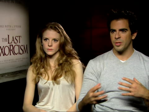 eli roth and ashley bell on the casting, why the chose patrick fabian, ashley bell and daniel stamm at the the last exorcism - press junket at london... - exorcism stock videos & royalty-free footage