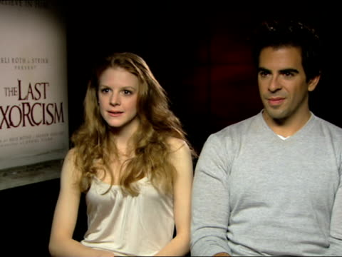 eli roth and ashley bell on the physical aspect of this film - ashley's character at the the last exorcism - press junket at london england. - exorcism stock videos & royalty-free footage