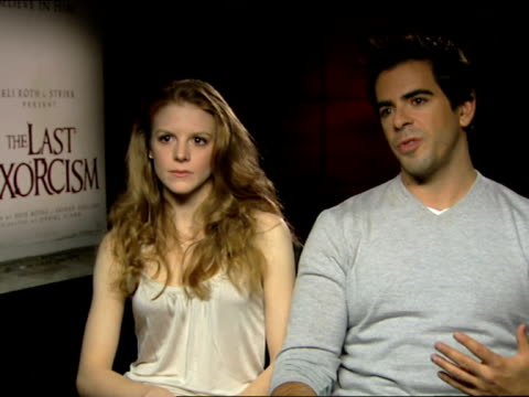 eli roth and ashley bell on the story, the actors and why the movie was so successful in it's opening week at the the last exorcism - press junket at... - exorcism stock videos & royalty-free footage