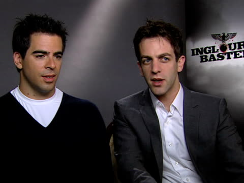 eli roth and bj novak on comedy in tarantino movies - b.j. novak stock videos and b-roll footage