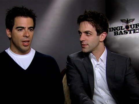 eli roth and bj novak on the film being a fantasy film of revenge and on his jewish roots - b.j. novak stock videos and b-roll footage
