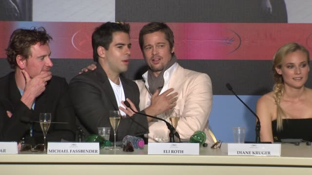 Eli Roth and Brad Pitt at the Cannes Film Festival 2009 Inglourious Basterds Press Conference Arrivals at Cannes