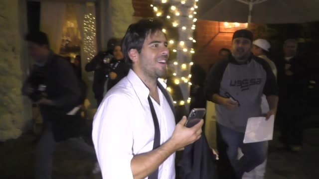 Eli Roth keeps Quentin Tarantino's wedding gift a secret outside the reception at Mr Chow in Los Angeles in Celebrity Sightings in Los Angeles