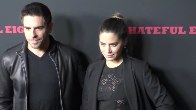 Eli Roth Lorenza Izzo at the Hateful Eight Premiere at ArcLight Theatre in Hollywood at Celebrity Sightings in Los Angeles on December 07 2015 in Los...