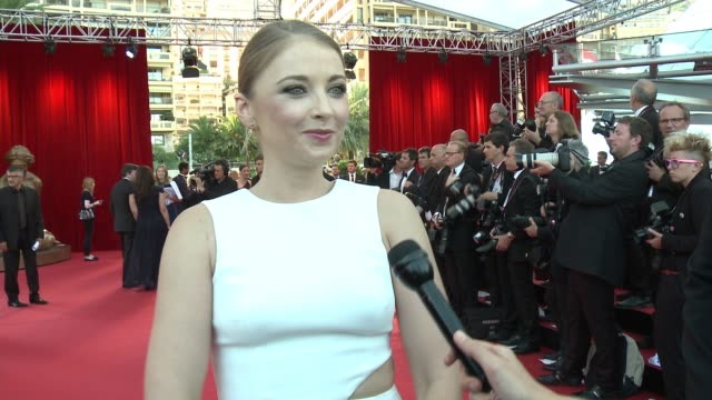 interview elisabeth harnois elisabeth harnois on her dress on csi being nominated for the international audience award on knowing that people are... - wrap dress stock videos and b-roll footage