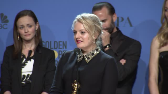 SPEECH Elisabeth Moss Ann Dowd Bruce Miller Warren Littlefield and the cast of 'The Handmaid's Tale' at 75th Annual Golden Globe Awards Press Room at...