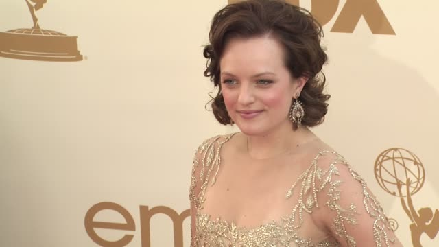 elisabeth moss at the 63rd primetime emmy awards arrivals part 2 at los angeles ca - 63rd annual primetime emmy awards stock videos and b-roll footage
