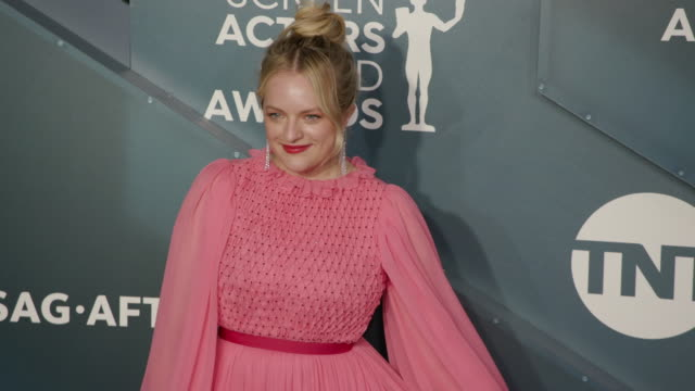 elisabeth moss at the shrine auditorium on january 19, 2020 in los angeles, california. - screen actors guild stock videos & royalty-free footage