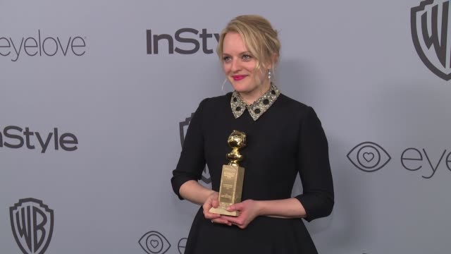 vídeos de stock, filmes e b-roll de elisabeth moss at the warner bros pictures and instyle host 19th annual postgolden globes party at the beverly hilton hotel on january 7 2018 in... - golden globes