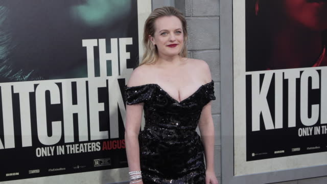 "vídeos de stock e filmes b-roll de elisabeth moss at the world premiere of ""the kitchen"" at tcl chinese theatre on august 05, 2019 in hollywood, california. - vestido preto"